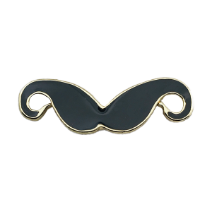 Gold Black Moustache Charm