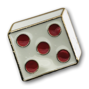 White Dice Red Dots Charm