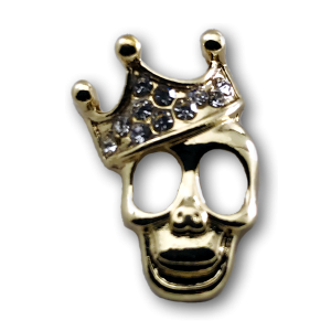 Gold Skull With Crown Charm