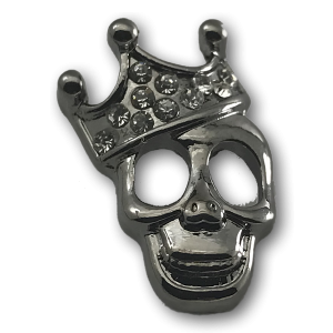 Silver Crown Skull Charm
