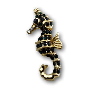 Gold & Green Seahorse Charm